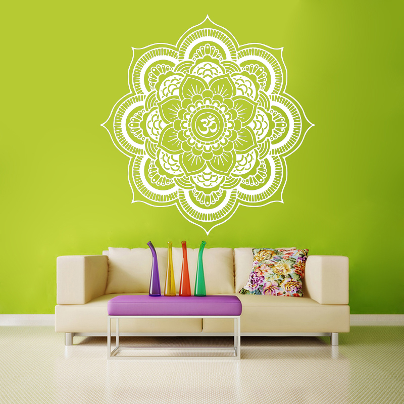 T04072 Eco-friendly Big Mandala Vinyl Wall Decal Yoga Sticker Menhdi Lotus Large Pattern Ornament Om Indian Mural Home Decor