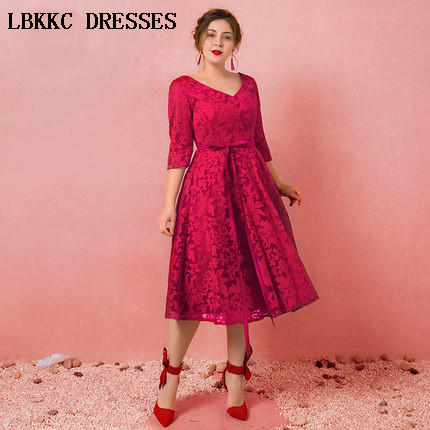 Half Sleeve   Prom     Dress   Lace V Neck Gala Jurken Tea Length Vestido Formatura Elegant Short   Prom     Dresses   2018 Plus Size