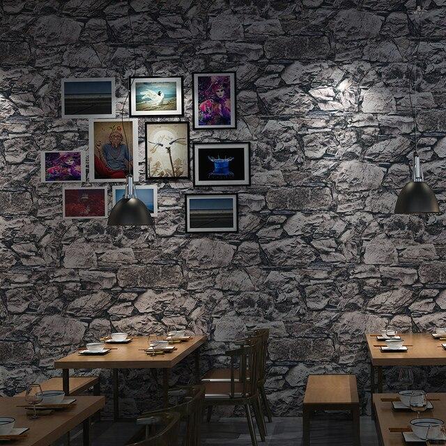 Grau 3D Stein Ziegel Wand Papier Rollen Schlafzimmer Esszimmer Wohnzimmer Wirkung Faux Tapete