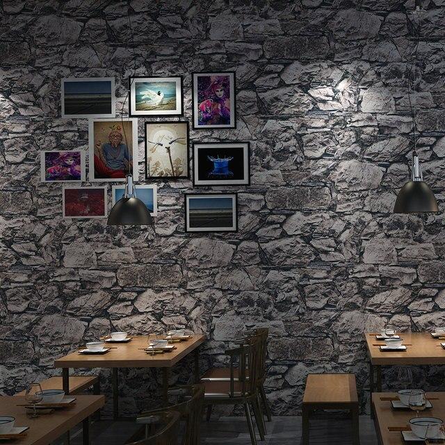 Gris 3D Pierre Brique Mur Rouleaux De Papier Chambre Salle À Manger ...