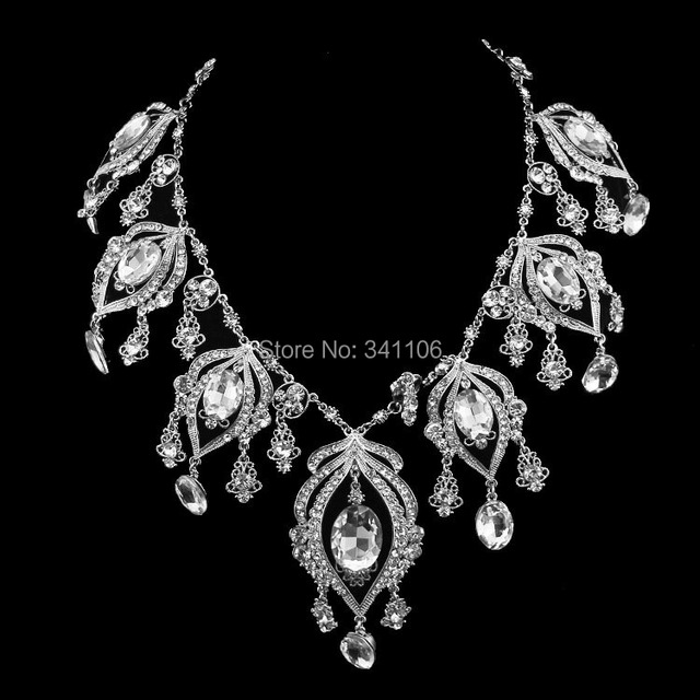 Real Top Quality Luxurious Crystal Bridal Jewelry Sets Silver Plated Statement Necklace Imitation Gemstone Jewelry XL002