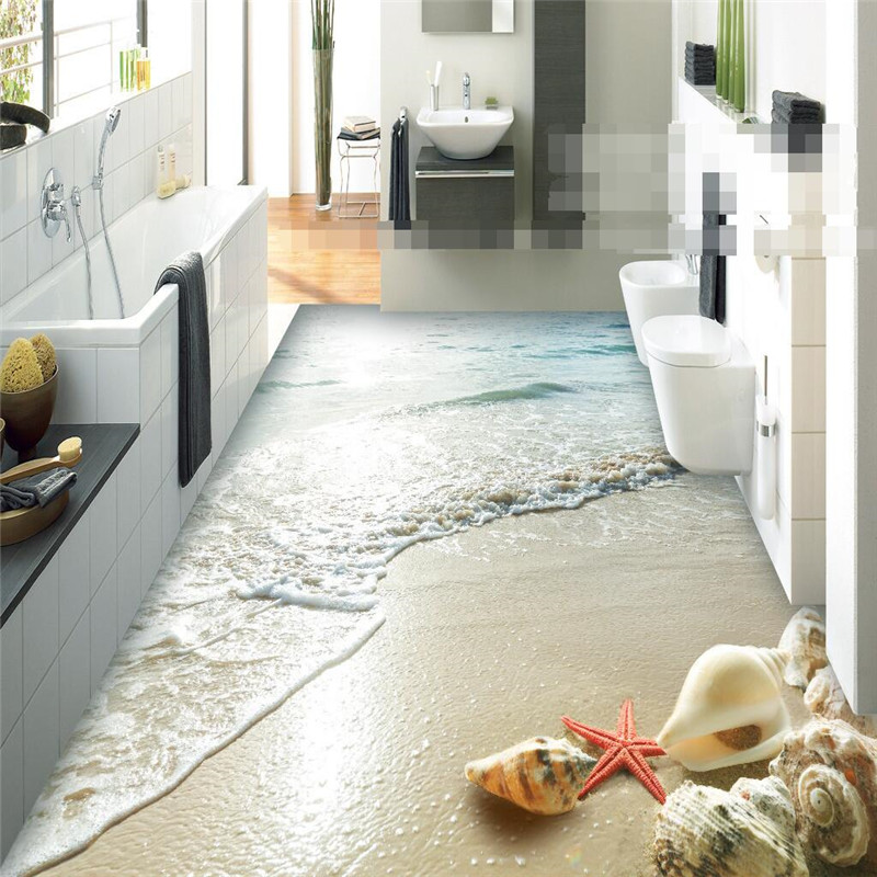 Beibehang Aufkleber 3d Boden Bad Mural Hd Ozean Strand Shell Starfish  Rutschfeste Wasserdicht Verdickt Selbstklebende Pvc
