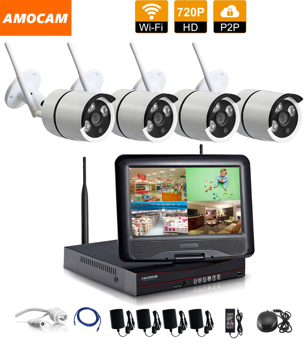 1280*720P HD Wireless Outdoor Network/IP Security Camera  4CH 720P HD WIFI NVR Wireless CCTV Surveillance Systems Home Security 1 4 cmos 720p ip camera hd 1 0mp network onvif2 0 waterproof outdoor support p2p 1280 720p bullet cctv security camera