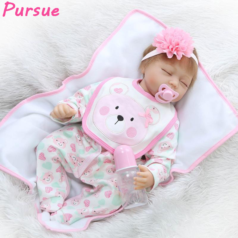 Pursue Reborn Realistic Lifelike Baby Doll Educational Toys American Girl Doll Christmas Gift Silicone Dolls for Sale 22/55cm 22 inches sweet girl dolls brown hair 55cm doll reborn baby lovely toys cute birthday gift for girls as american girl