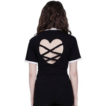 Casual Black Women T-shirts Plain Back Hollow Heart Straps Goth Tops 2 Colors
