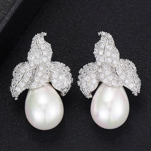 Image 2 - GODKI Spring Collection pendientes colgantes de perlas de imitación para mujer, de hoja, Perla de imitación para boda, pendiente de circonia cúbica a la moda de la India