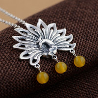 925 Silver Peacock Pendant Necklace for Women Yellow Bead Accessorice Link Chain S925 Thai Solid Silver Jewelry Making Necklaces