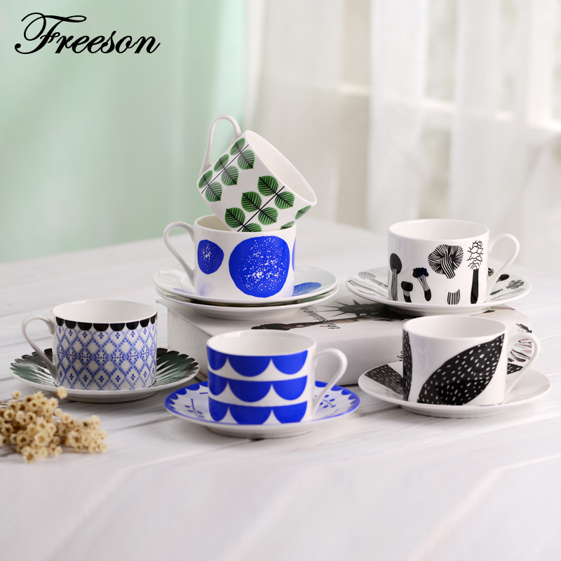Europe Brief Bone China Coffee Cup And Saucer Set Ceramic Teacup 210ml Advanced Porcelain Tea Cup