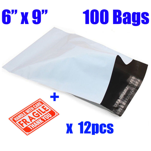 100 Pcs 6x9 White Gray Poly Mailer Envelopes Shipping Bags With Self Adhesive