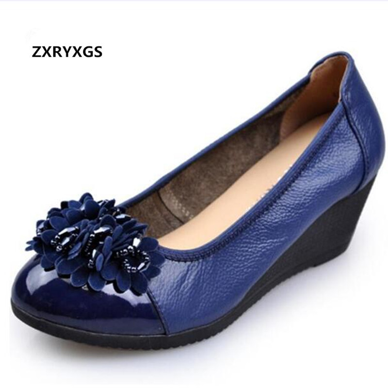 ZXRYXGS Brand Shoes Woman Wedges Fashion Casual Shoes 2019 Newest Spring Rhinestone Bow Cow Leather Shoes