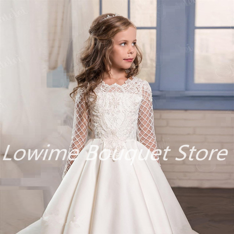 1d34636182d6 2017 Pentelei Long Sleeves Special Satin Flower Girls Dresses with  Applqiues Pockets Ivory White Girls First Communion Gowns-in Flower Girl  Dresses from ...