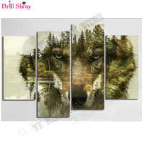 5d diamond painting full drill resin cross stitch kits triptych mountain wolf painting square embroidery rhinestones painting