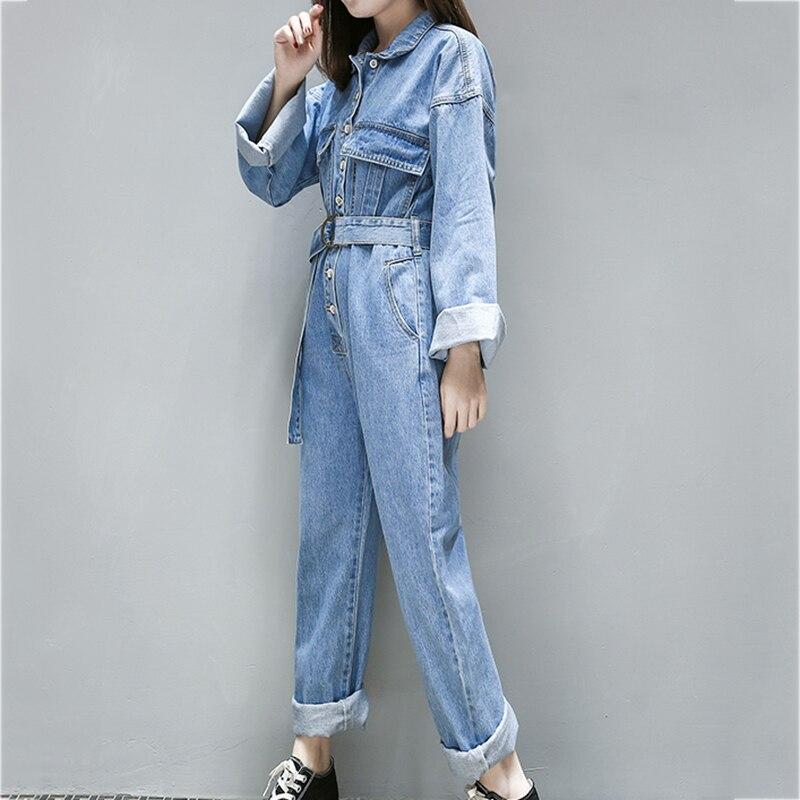 Barboteuses Lavé Light Haute Femelle Dd935 Printemps Pantalon Manches Femmes 2018 Blue Salopettes Longues Casual Taille Lâche Denim Nouveau qxO1wazq