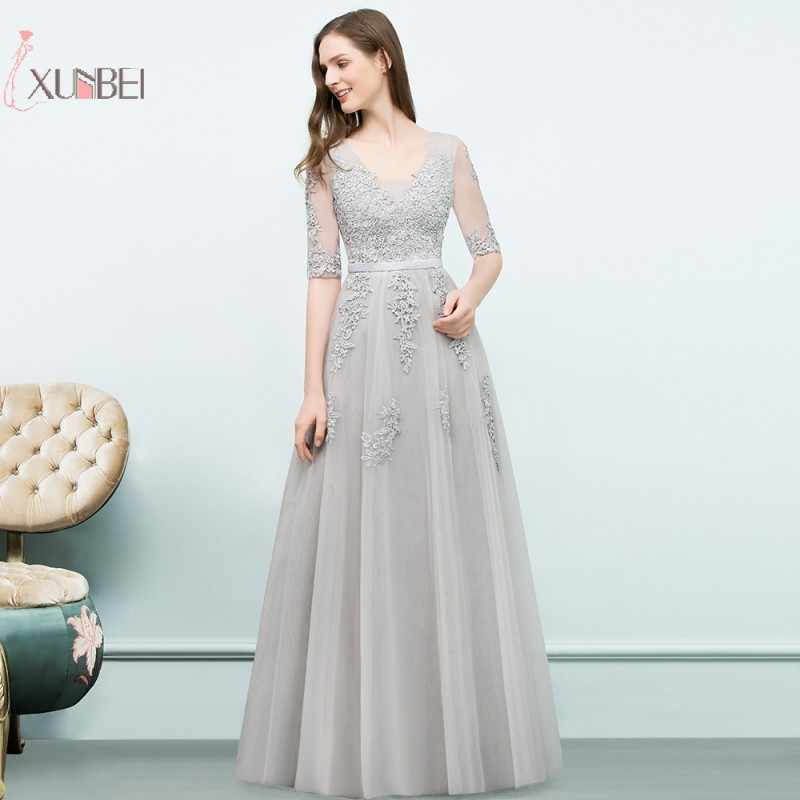 c48a4d9e1b786 Half Sleeve Elegant Long Prom Dress Applique Tulle Prom Dresses 2019 ...