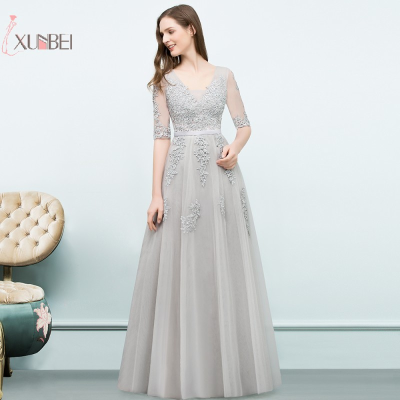 2019 Elegant Applique Long   Prom     Dresses   A line Tulle Half Sleeve   Prom   Gown Vestido de Gala   Dress