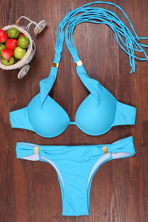2017 New Push Up Solid Color Bikini Set Swimsuit Bathing Suit Swimwear women bandage bikini set push up padded bra mesh swimsuit bathing suit swimwear
