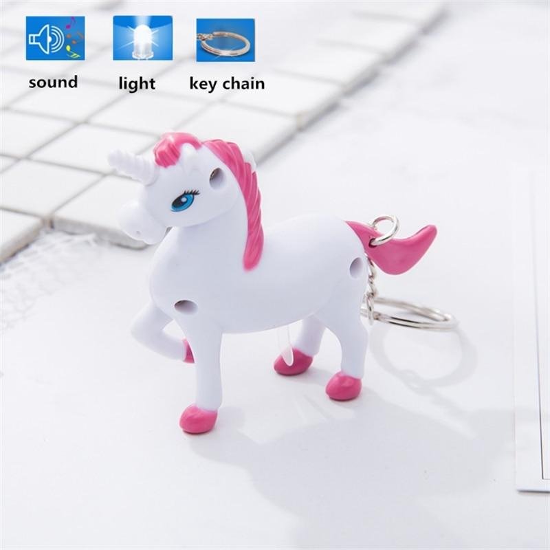LED Light Sound Unicorn Chain Key Unicorn Party Key Chain Unicornio Aniversario Rwedding Gifts for Guests Birthday Decoraion.Q