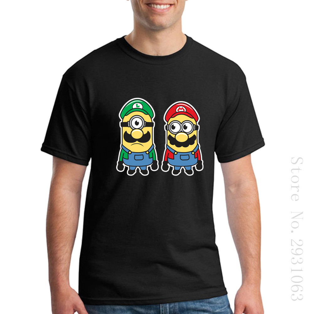 For Sale Tee Tops Clothing Men Super Mario Super Minion Bros Short Sleeve Shirt Men's 100% Cotton T Shirts For Men