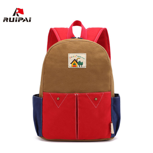 66d70830af RUIPAI Children Backpacks Kids Kindergarten School Bags Canvas Fashion School  Bags for Girls Boys Patchwork Schoolbags