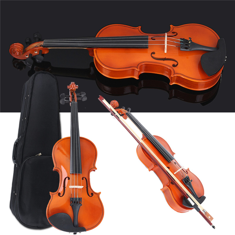 Zebra 1 2 Natural Acoustic Wooden Fiddle Violin Set With Violin Case Bow Rosin Parts For