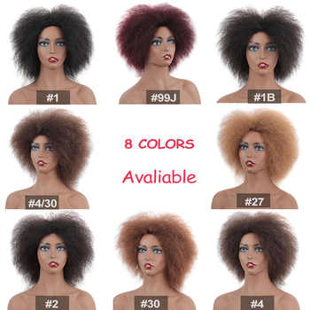 Leeven 6.5 Inch 100g/pcs Synthetic Hair Short Black Kinky Curly Afro Wig Fluffy Cosplay Wigs for Women High Temperature Fiber