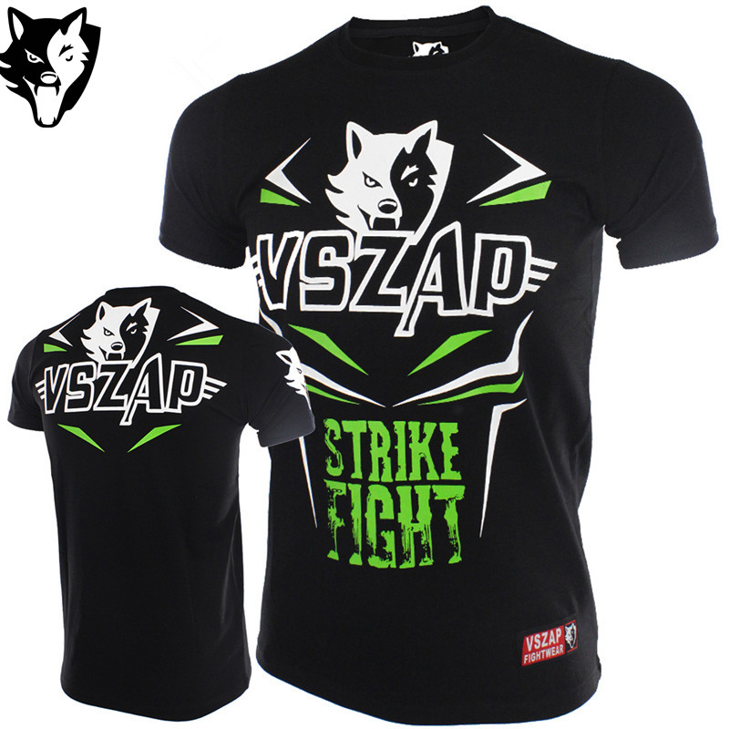 VSZAP STRIKE FIGHT 2 Colors Cotton MMA Fight Short Sleeved T-shirt Tiger Leisure Fitness Sports Training Thai Boxing Jerseys