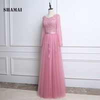 Floor Length Long Sleeve Bridesmaid Gown Wedding Party Dress Appliques Beading Sash A Line Pleated Tulle Pink Bridesmaid Dresses