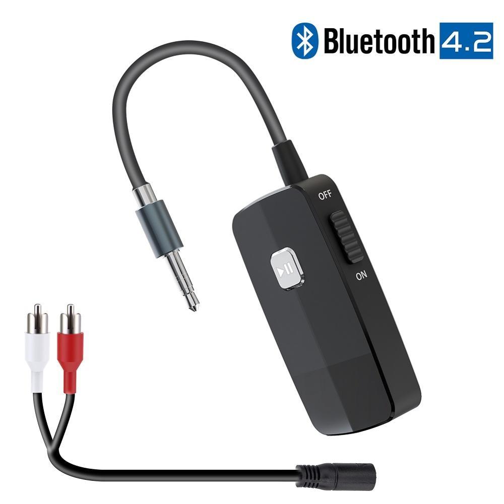 Bluetooth 4.2 receptor adaptador de áudio sem fio portátil com 3.5mm rca jack para streaming de música estéreo em casa ou alto-falante do carro