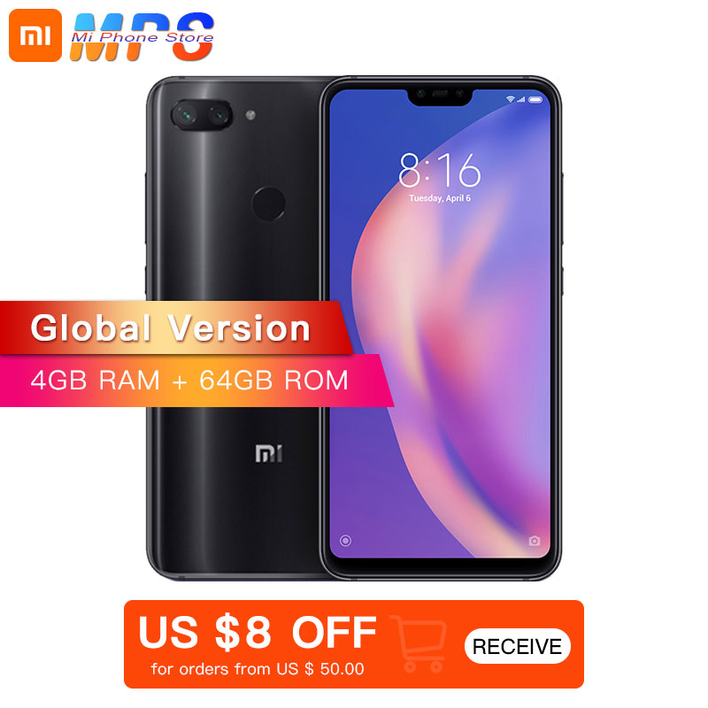 "Global Version Xiaomi Mi 8 Lite 4GB 64GB Mobile Phone 6.26"" Snapdragon 660 Octa Core 24MP Front Camera 19:9 Full Screen"