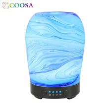 COOSA 3D Glass Aroma Diffuser 100ml Air Humidifier Oil Noiseless Ultrasonic Mist Maker 7 LED Lights for Bedroom Office