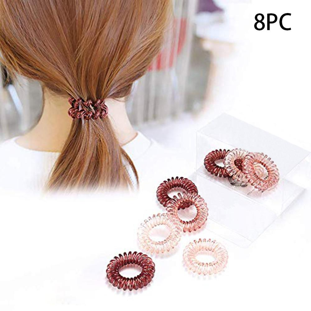 8 Pcs Hair Band Telephone Line Wire Loops Rubber Hair Ropes Girls Women Ponytail Holder Spiral Strip Hair Accessories