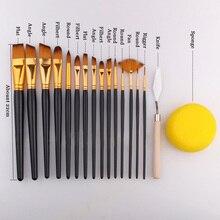 17 قطعة مجموعة فرشاة رسام للفنانين مع حافظة حمل سكين إسفنجية سوداء للرسم ألوان مائية فرشاة رسم الاكريليك النفط