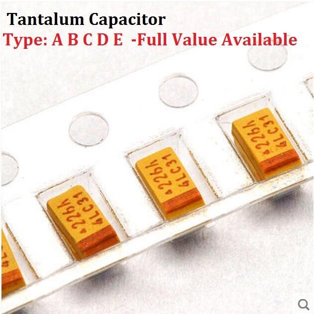 10PCS Tantalum Capacitor Type D 107 25V 100UF 25V SMD Capacitance 25V100UF 7343 Capacitors 100UF25V