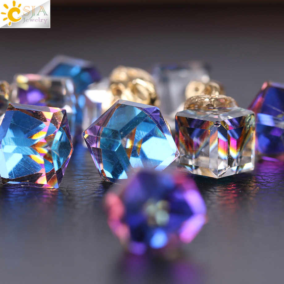 CSJA קוביית זכוכית Loose חרוזים להכנת תכשיטים רקמה כיכר צורת 2mm חור אוסטרי קריסטל חרוזים Beadwork DIY 10pcs F367