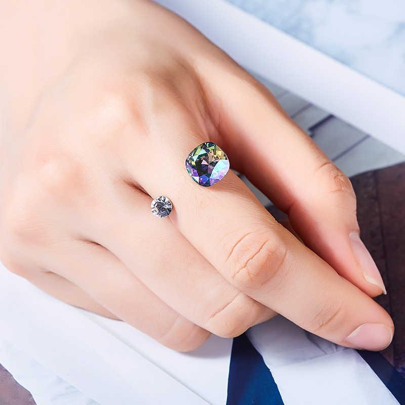 ใหม่สีคริสตัลจาก SWAROVSKI เปิดแหวนสำหรับงานแต่งงาน Party แหวนเครื่องประดับหญิง Mom ของขวัญ