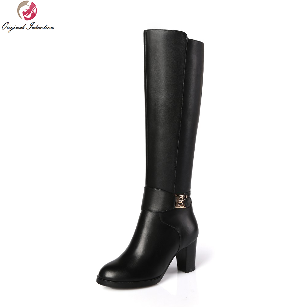 Original Intention High-quality Women Knee-High Boots Nice Round Toe Square Heels Boots Popular Black Shoes Woman US Size 3-13 original intention nice fashion women knee high boots round toe square heels boots beautiful black shoes woman us size 3 5 13