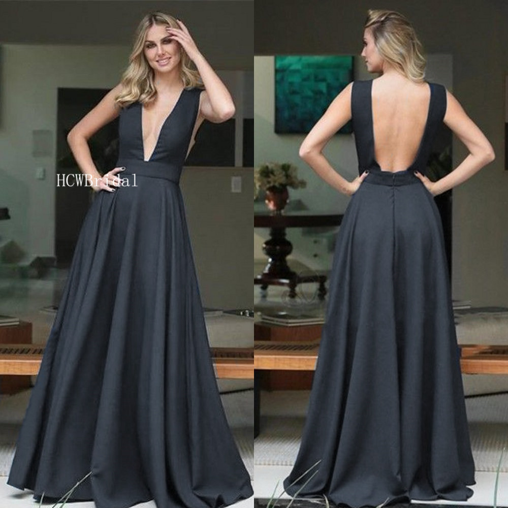Elegant Long Black   Evening     Dress   V Neck Backless A Line Formal Occasion   Dresses   Cheap 2019 Custom Made Wedding Party Gowns