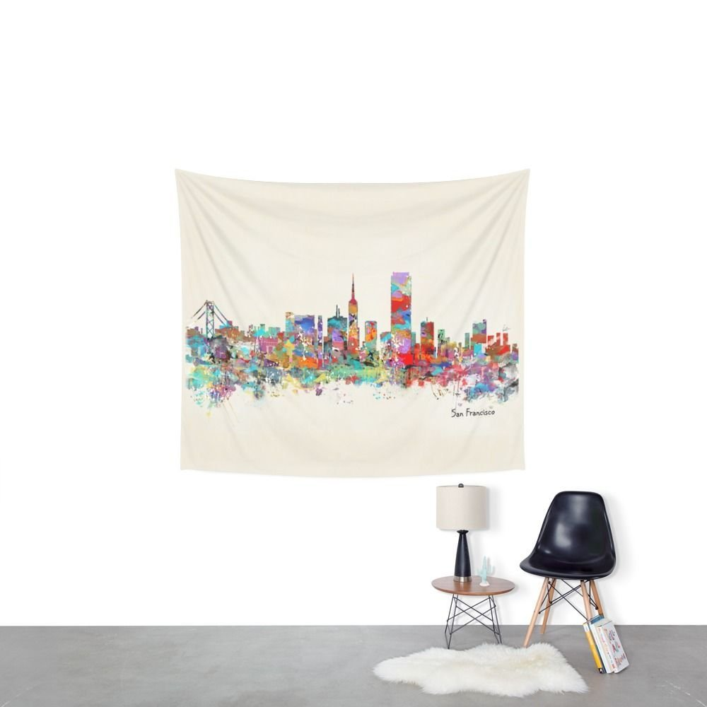 San Francisco Skyline Wall Tapestry Sandy Beach Picnic Throw Rug Blanket Camping Tent Travel Mattress