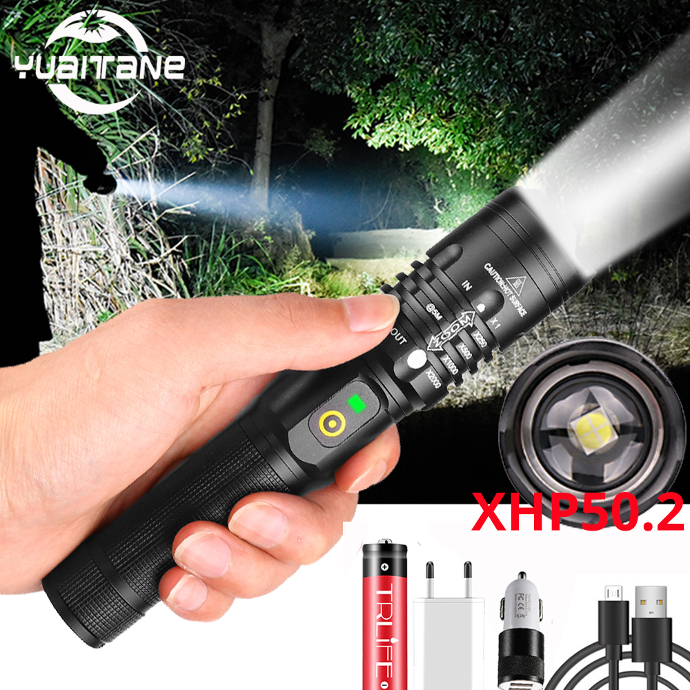 80000LM Powerful LED Flashlight XHP50.2 Rechargeable Torch XHP70.2 USB Zoom Lantern XHP50 Hunting Lamp Self Defense Use 18650