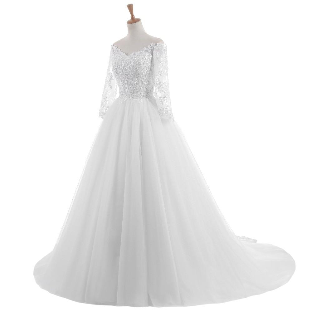 Elegantní Vestido De Novia Vintage bílé plesové šaty svatební - Svatební šaty - Fotografie 3