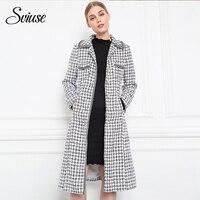 Women Autumn Winter Vintage Long Coat Tweed Stitching Ribbon Trench Outwear Female Party Elegant Office Warm Windbreaker New2018