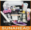 2014 2018 Pro Nail Art UV Gel Kits Tool UV lamp Brush Remover nail tips glue acrylic UW,HB-NailArt 089#