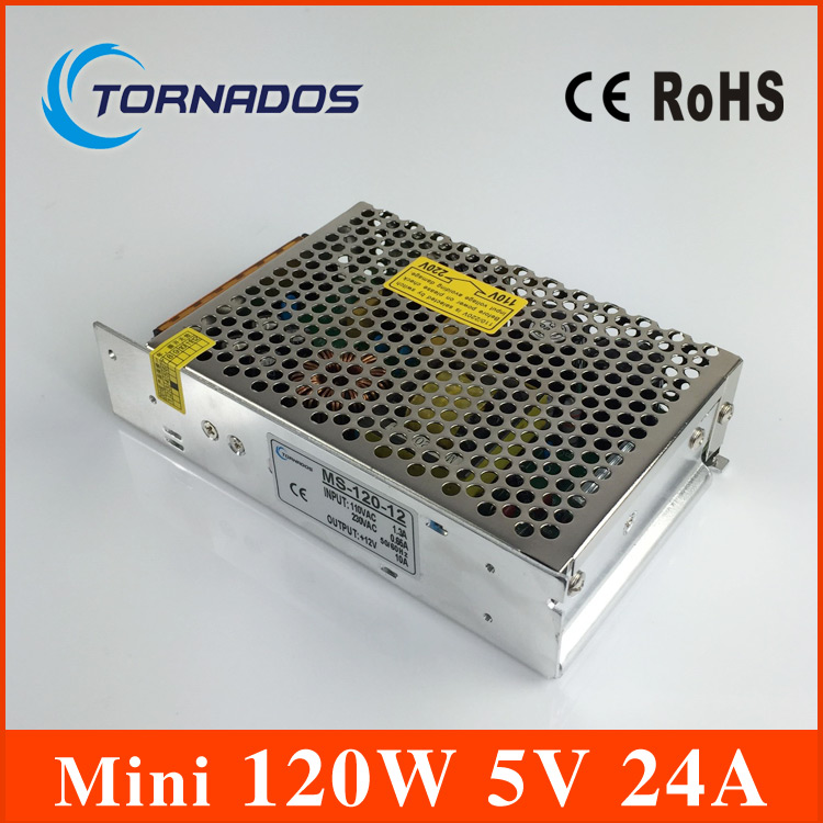 power supply 120W 5V 24A mini size ac dc converter power supply unit ms-120-5 5v variable dc voltage regulator image