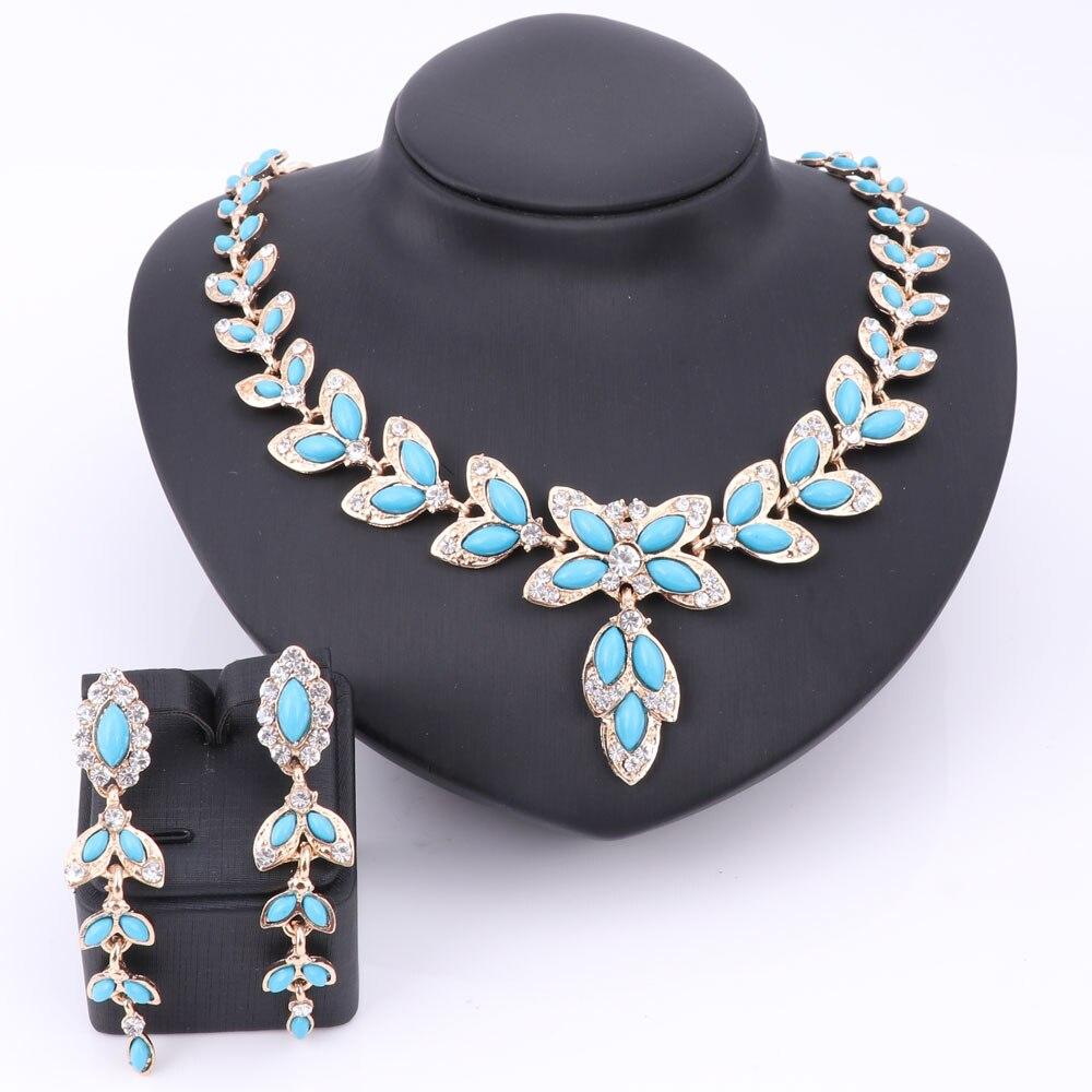 53842f62aa516 الأزياء حزب اكسسوارات مقلد الأزرق بيرل الكريستال الخرز قلادة أقراط طقم  مجوهرات للنساء بيان الأفارقة