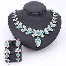 Fashion Party Accessories Simulated Blue Pearl Crystal Jewelry Sets For Women Statement African Beads Necklace Earrings(China)