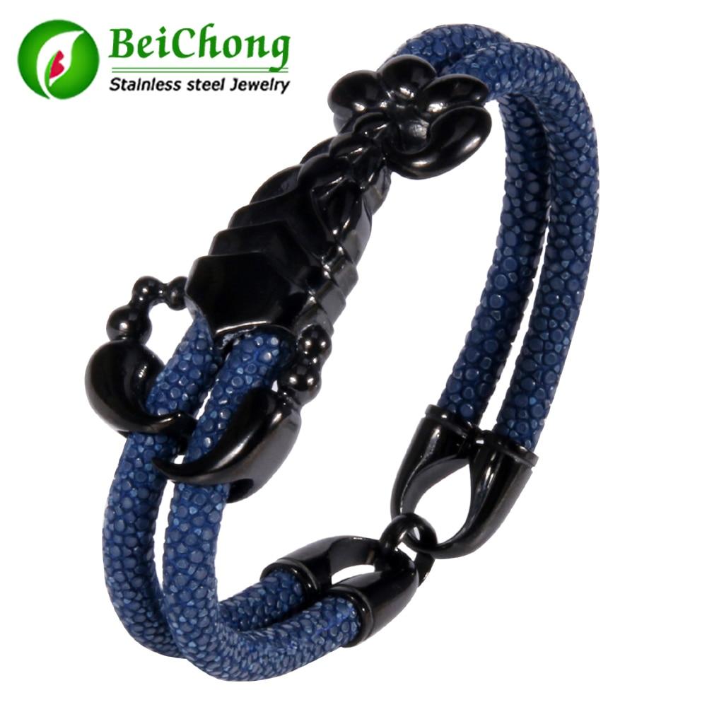 (10 pieces/lot) New Fashion Women Stainless Steel Scorpion Bracelet Stingray Leather Bracelet Men Punk Pulseras Gift