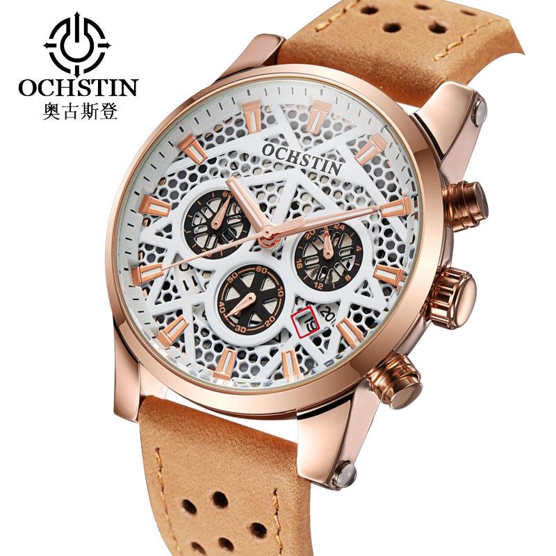 Prix pour Ochstin Nouveau Sport De Luxe Montre Homme Squelette Quartz Montre-Bracelet pour hommes Étanche Hommes Montre Militaire de 3 Sous Cadran Travail Horloge Hommes