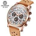 Ochstin Novo Relógio Esportivo de Luxo Homens Esqueleto Relógio de Pulso de Quartzo para homens À Prova D' Água 3 Sub Mostrador do Relógio Militar dos homens de Trabalho Homens Relógio