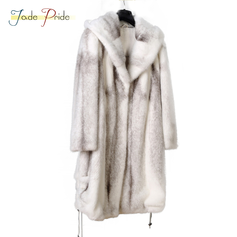 jade pride 2018 New Customizable With Hood Women`s Real Mink Fur Jacket Fold Corner Medium Genuine Mink Fur Coat Full Pelt Coats
