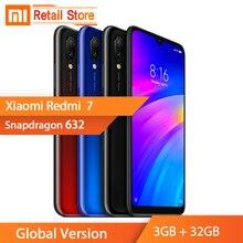 Küresel Sürüm Xiaomi Redmi 7 Redmi7 3 GB + 32 GB Cep Telefonu Snapdragon 632 12 + 2 MP Kamera 6.26 ''Ekran 4000 mAh Çift Sim